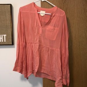 Anthropologie Mauve Pink Long Sleeved Blouse